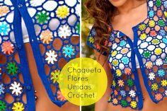 Chaqueta corta Flores unidas de Crochet - Patrones Crochet