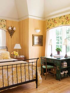 modern furniture, green, colors, bedroom decorating ideas, valanc, desks, yellow walls, guest rooms, country bedrooms