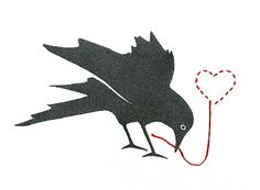 small crow print with embroidery