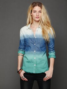 Free People Ombre Button Down Shirt  http://www.freepeople.com/whats-new/ombre-button-down-shirt/