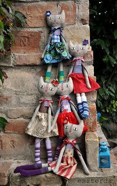 fabric doll (cats) - love their clothes