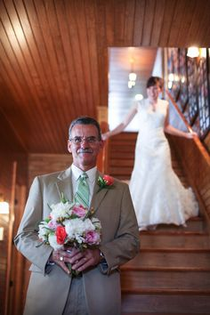 """Love the idea of a """"double first look"""" - first get a shot of the father of the bride seeing his daughter for the first time and then get a shot of the groom. <3 themarriedapp.com hearted <3"""
