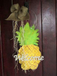 Pineapple Burlap Door Hanger Welcome by nursejeanneg on Etsy, $28.00