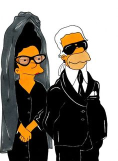 Diane Pernet & Karl Lagerfeld...or Marge and Homer HIGH FASHIONIZED!!!!