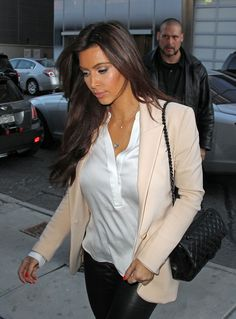 simple white henley, nude blazer, black leather pants. love!