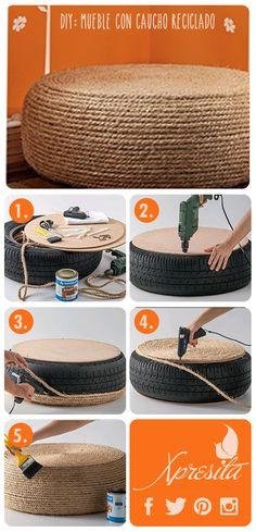 + Ideas: Mueble con caucho reciclado #DIY #Mueble #Reciclaje #Xpresita
