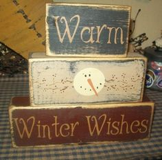 WARM WINTER WISHES PRIMITIVE BLOCK SIGN SIGNS