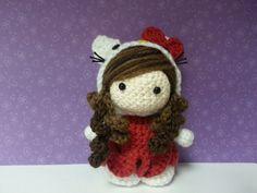 Amigurumi Doll in Hello Kitty Costume Cosplay. via Etsy.