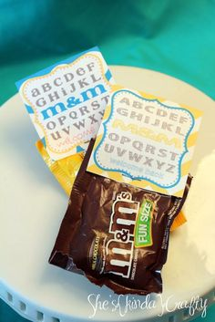 """A """"sweet"""" little afternoon pick me up for the teachers or kids for back to school. Printable M welcome back idea"""