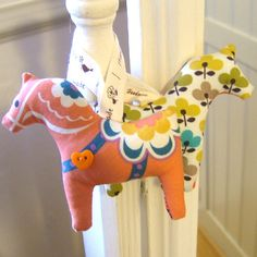 Orange Springtime Dala Horse Hanging Decoration by Court & Spark on Folksy | Craft Juice