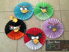Angry Birds Space Party Decor Set of 5 Angry Birds Space- Large Paper Rosettes/ Fans