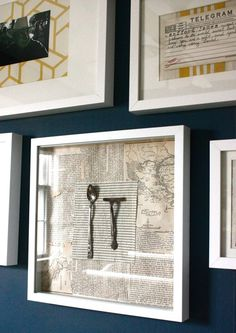 i like how she framed family artifacts. I want to do this with some of my grandmother's old recipe cards.