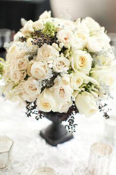 white roses, centerpiec, wedding ideas, black white, classic white