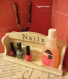 Repurposed Spice Race Nail Polish Holder www.organizedclutterqueen.blogspot.com