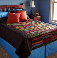 Center Strips Bed Quilt