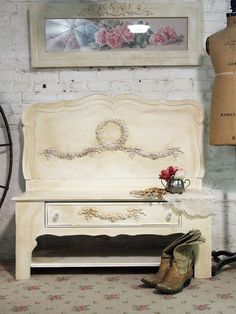 Looks like this bench was repurposed from a bench and old twin headboard!
