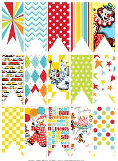 Bright colors and patterns circus bunting #carnival #free #printable