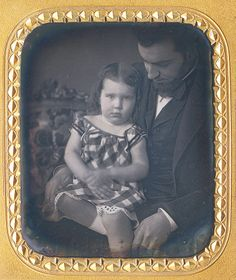 sweet 6th plate daguerreotype of a girl & her Dad