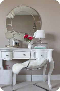 For the small desk (in bedroom), ghost chair or any other clear/acrylic chair would be perfect. No visual space is taken and it's lovely.