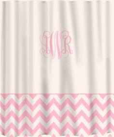 pink bathroom decorations, pink shower curtain, pink chevron border, pink themed bathroom, grey border, custom shower, monogram bathroom decor, monogrammed shower curtain, shower curtains