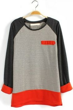 contrat stripe, sleev tee, style, cloth, stripe long, long sleev, closet, t shirts, sleeves