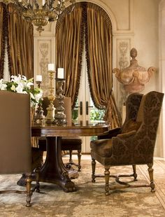 What a dining room! dining areas, dining rooms, warm colors, dine room, chocolate brown, window treatment, tuscan style, curtain, elegant dining