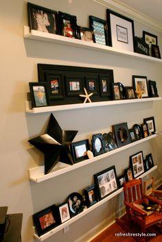 Ana Whites Ledges for gallery wall. modern house design, design homes, home interiors, design interiors, gallery walls, living room designs, modern houses, modern interiors, home interior design