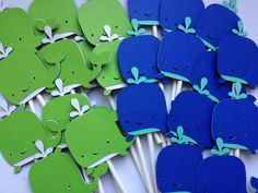 12 Whale-Nautical Cupcake Toppers, Nautical First Bithday, Boy Baby Shower, Nautical Baby,Anchors,Helm,Life Preserver, Whales, Anchors, Blue. $10.00, via Etsy.