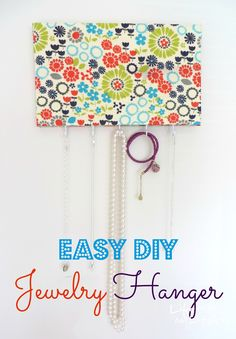 Easy DIY Jewelry Hanger: a simple tutorial with just a few cheap materials that turns into a cute necklace and bracelet hanger!