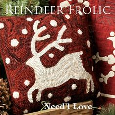 Reindeer Frolic Applique Quilt and Pillow Pattern by Needl Love at KayeWood.com. Reindeer Frolic emphasizes the beauty of two color quilts. http://www.kayewood.com/item/Reindeer_Frolic_Applique_Quilt_and_Pillow_Pattern/3586 $10.00