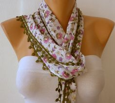 Multicolor Scarf   Cotton  Scarf  Headband Necklace by fatwoman, $15.00