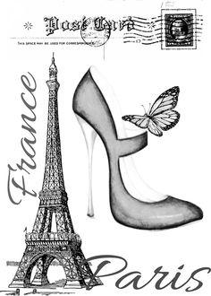 Czarno biała grafika - Paryż lindo