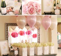 Ready To Pop Sprinkle Baby Shower-Love the pretty metallic balloons, tissue paper pom poms, pale pink roses and gold accents.