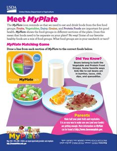 Free Meet #MyPlate handout for families. Includes a MyPlate menu planner. #DiscoverMyPlate #kindergarten #TeamNutrition #B2S