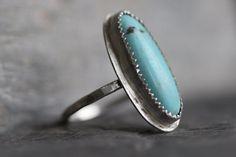 Kingman Turquoise Ring Long Oval Sterling by MossyCreekStudio, $52.00