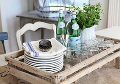 French Country Flair and Entertaining……Tray Made From an Old Crate and Chicken Wire!