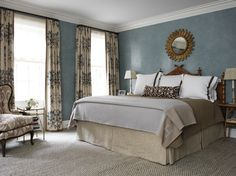 blue, cream, and brown master bedroom on the Upper East Side by Elizabeth Bauer.