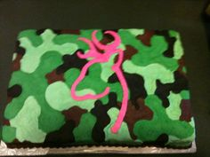 Super cute cake for a girl that is girly, but loves camo!! camo cakes for girls, fav cake, camo birthday cakes for girls
