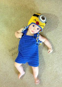 Despicable Me Minion Hat and Overall Shorts Crochet Pattern