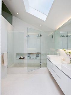 luxury bathrooms, interior, glass, white bathrooms