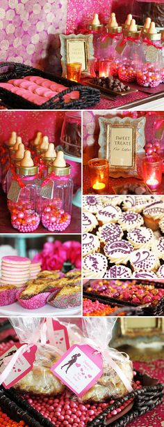 Vibrant dessert table for a Moroccan themed baby shower