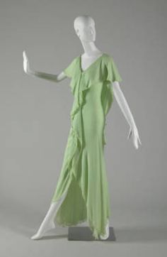 Evening dress, ca. 1975. Silk chiffon. Halston