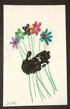 Cute handprint flower bouquet craft for Mother's Day