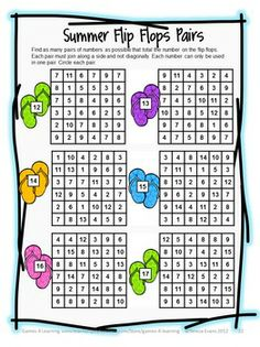 Summer math puzzle sheet from Summer Math Games, Puzzles and Brain Teasers from Games 4 Learning. $