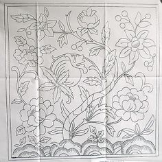 VINTAGE SILVER EMBROIDERY TRANSFER - LARGE SQUARE JACOBEAN CUSHION / FIREGUARD crewel embroidery patterns, vintage silver