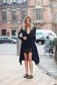 . fashion, leather skirts, street styles, sandal, birkenstock, shoe, rainbow, black, coat