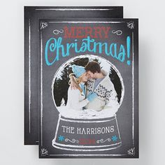 Personalized Snow Globe Christmas Card - what a unique family Christmas card idea! I LOVE this design and it's awesome that you can personalize the inside with any message  too - it'll save you so much time when you're sending out all your cards!