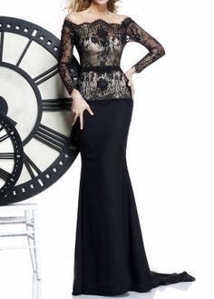 Evening Dress, Black  Lace Formal Dress, Lace Mermaid Evening Dress,Long Sleeve Formal Dress on Etsy, $280.00