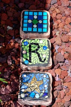 """Mini Stepping Stones    6"""" X 6"""" pavers  Stained glass, sea glass, vitreous tiles on cement pavers."""