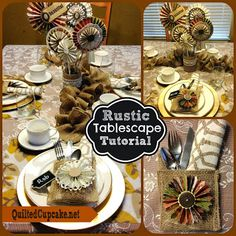 Thanksgiving Craft Idea: Turkey Tablescape with Burlap pockets from @Quilted Cupcake #turkeytablescapes